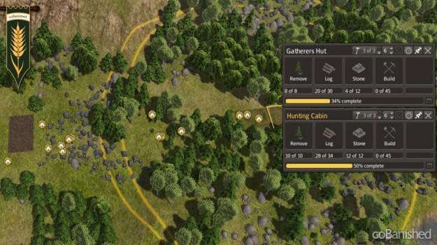 Jäger (hunter) und Sammler (gatherer) in einem Wald platzieren