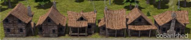Banished mit 6 Typen von Holzhäusern