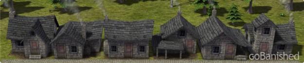 Banished mit 6 Typen von Steinhäusern
