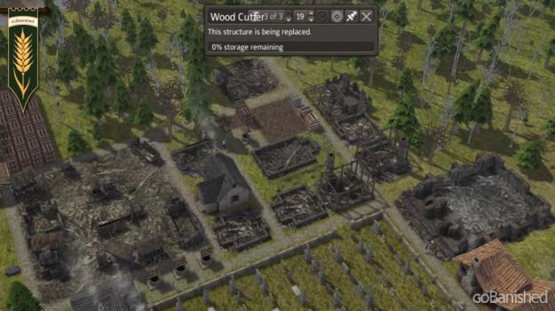 Banished: niedergebranntes Viertel mit Ruinen
