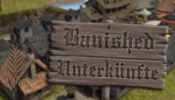 Banished Unterkünfte: Holzhaus, Steinhaus und Wohnheim